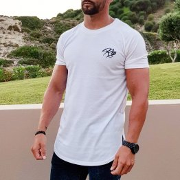 Signature Curved Longline Tee - White