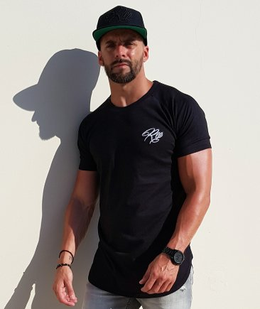 Signature Curved Longline Tee - Black
